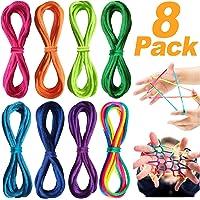 VOOA Corde à Doigts Rainbow Toy - Jeu de Ficelle Doigts 8 pcs Rainbow Rope, Corde à Doigts, Cats Cradle Corde, Jeu d'adresse, Jeu élastique Enfant Doigt, Petit Cadeau