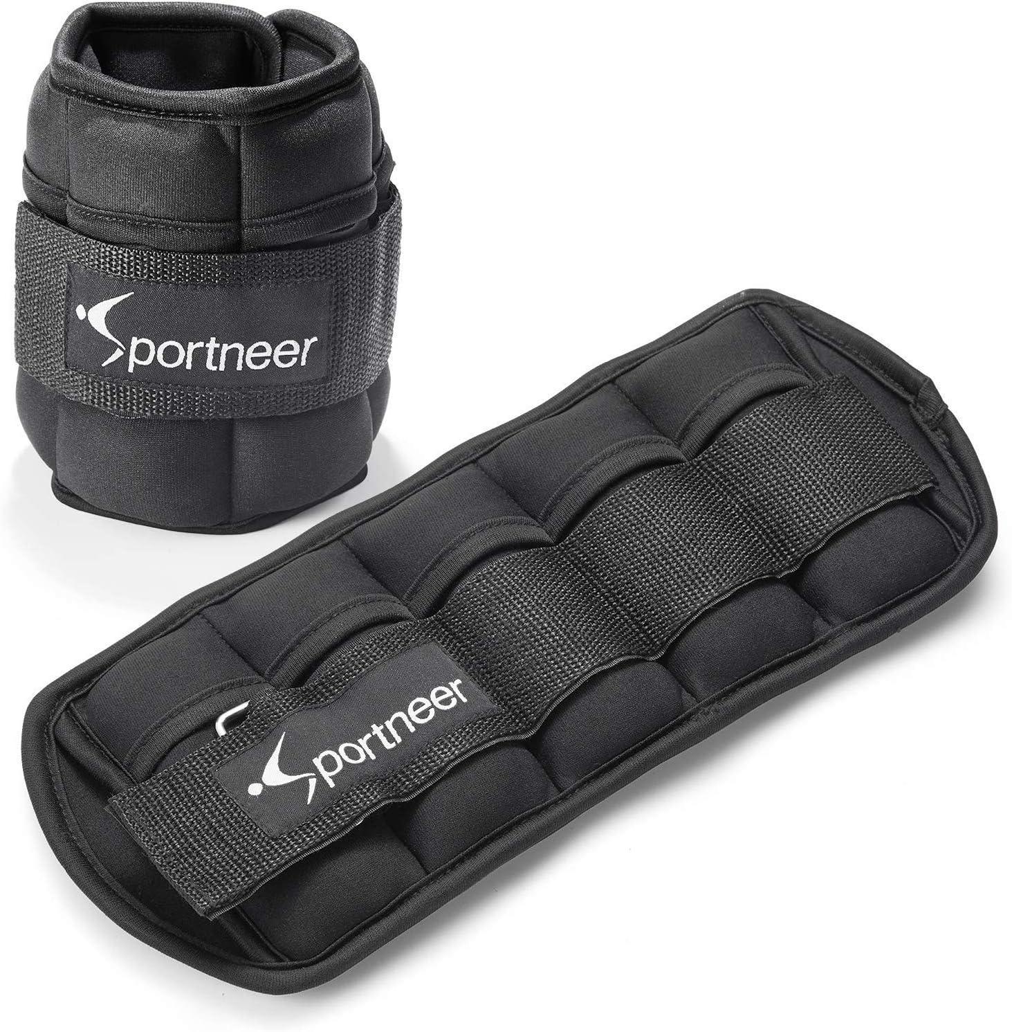 Sportneer - Juego de 2 Pesas para Tobillo y muñeca (0.97 g hasta 4.6 kg), Color Negro
