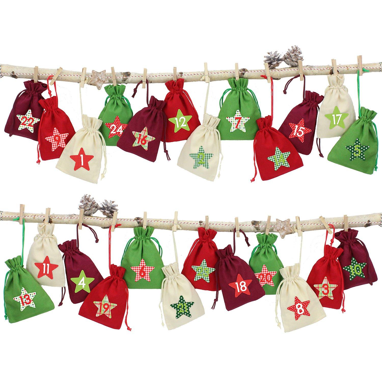 24 calendriers de l'Avent, sachets en tissu à remplir - avec de la ficelle de boulanger et les supports de bois - pour l'auto décoration - rouge-vert 24 calendriers de l' Avent Papierdrachen