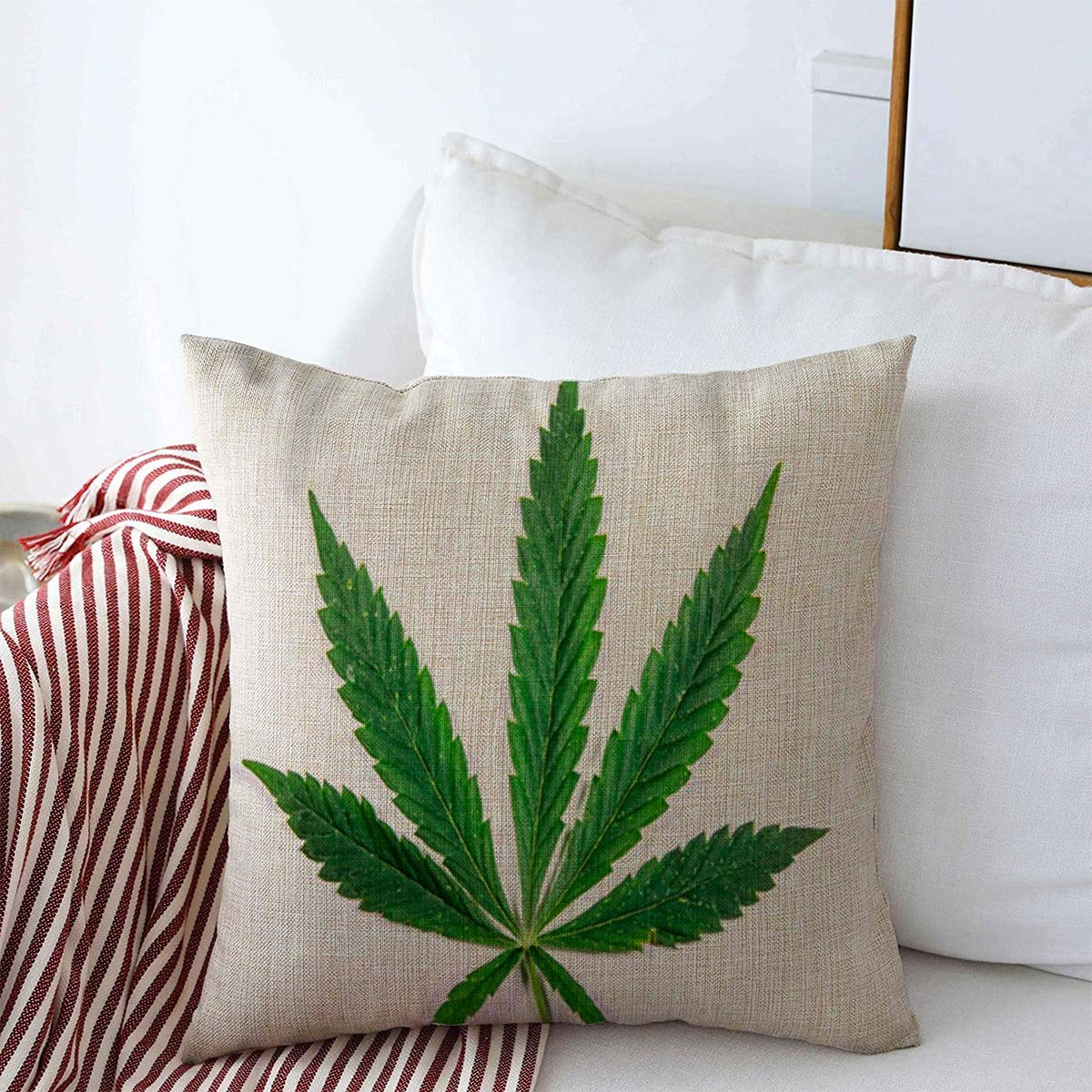 """Anmbsk Decorative Linen Throw Pillow Covers Hemp Green Addiction Leaf Cannabis Plant White Abuse Agriculture Alternative Botany Cancer Marihuana 18"""" x 18"""" Square Cushion Case for Home Decor"""