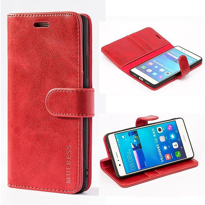 Mulbess Cover per Huawei P9 Lite, Custodia Pelle con Magnetica per Huawei P9 Lite [Vinatge Case], Vno Rosso