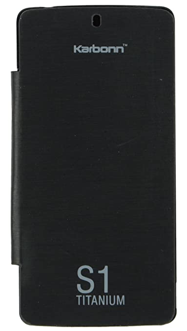 iCandy trade; Synthetic Leather Flip Cover For Karbonn Titanium S1   BLACK <span available at Amazon for Rs.170