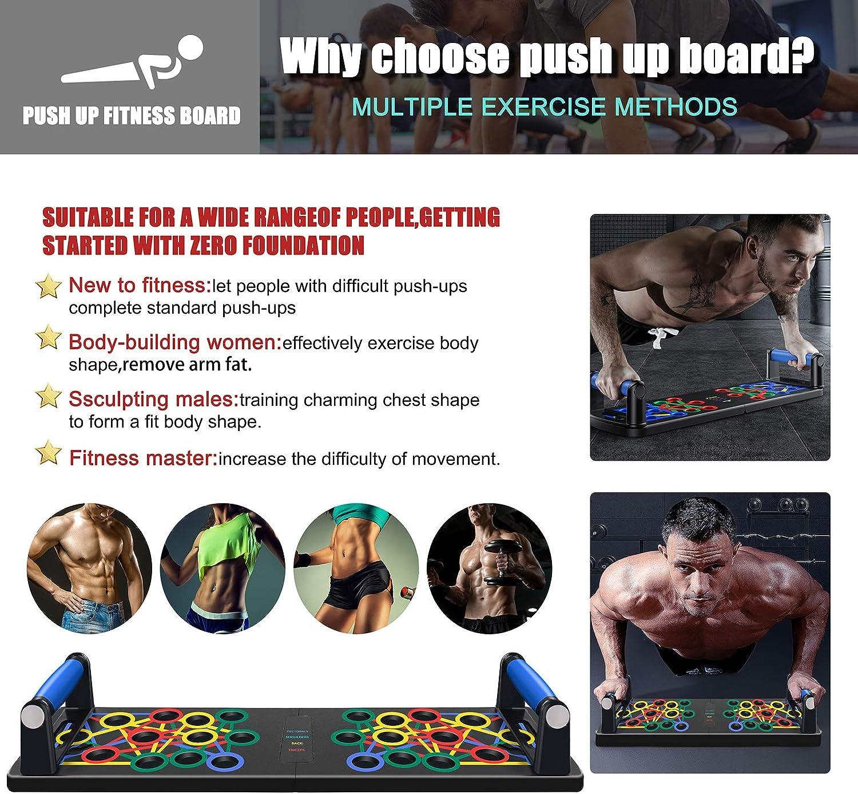 UJUJIA Liegest/ütz-Multitrainer 9 in 1 Liegest/ützgriffe Farbcodiertes Liegest/ütze Brett Liegest/ützbrett Push-up-Brett Multifunktions-Muscleboard f/ür M/änner//Frauen Heimtraining Push Up Board