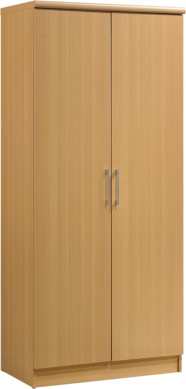 Hodedah 2 Door Wardrobe with Adjustable/Removable Shelves & Hanging Rod, Beech