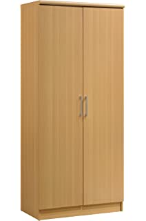 HODEDAH IMPORT Hodedah 2 Door Wardrobe With Adjustable/Removable Shelves U0026  Hanging Rod, Beech