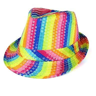 a575b3ea9 Amazon.com: Trendy Apparel Shop Colorful Rainbow Striped Shiny ...