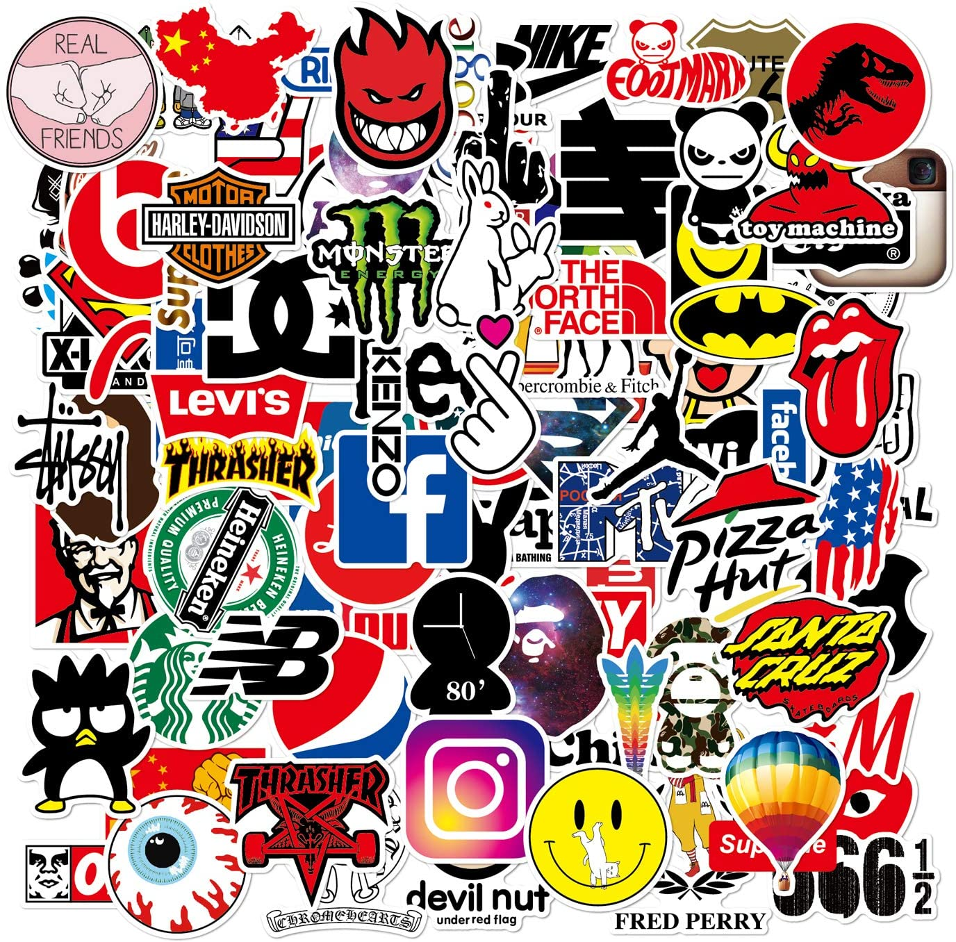 HappyThousands Cool Stickers Pack 103pcs, Vinyl Skateboard Stickers for Teens, Logo/ Brand Decal Stickers for Water Bottles Bike Laptop Luggage, Adult Teen Gifts