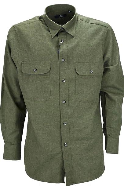 finest selection d5c2b 268ae Camicia Uomo Classica Verde Militare Tintaunita Flanella ...