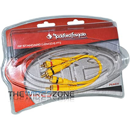 Rockford Fosgate RP4002 RF Standard 0.6 ft Yellow Twisted Pair Coaxial RCA Cable