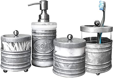 Amazon Com Autumn Alley Rustic Farmhouse Glass And Galvanized Bathroom Accessories Set 4 Pcs Lotion Soap Dispenser Toothbrush Holder 2 Apothecary Jars Qtip Holder Rustic Farmhouse Bathroom Decor Home Kitchen