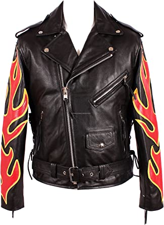 Men's Classic Brando FIRE Flame Black Red & Yellow Cowhide Real Genuine Leather  Motorcycle Motorbike Biker Cruiser Jacket: Amazon.co.uk: Clothing