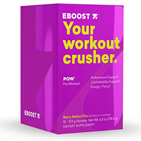 EBOOST POW Natural Pre-Workout Powder Maximize Workouts Recover Faster Smoother- Berry Melon Fizz Flavor 15 Packets per Box