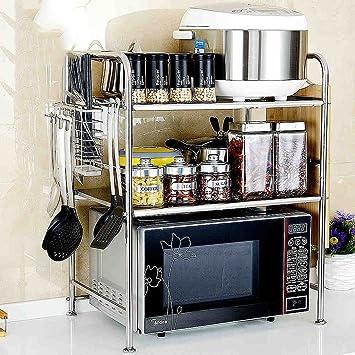 GRY Estante de la cocina Horno microondas Estante Acero inoxidable ...