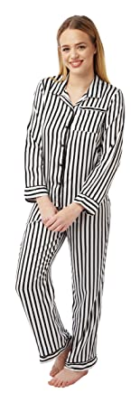 9b80233e86 Jane Brooke® Ladies 2 Piece Satin Pyjamas - Colour - Ivory Black Striped  Size