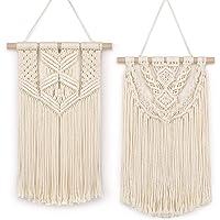 BONTHEE 2 piezas de macramé para colgar en la pared, pequeño tapiz tejido, hecho a mano, cuerda de algodón, bohemio…