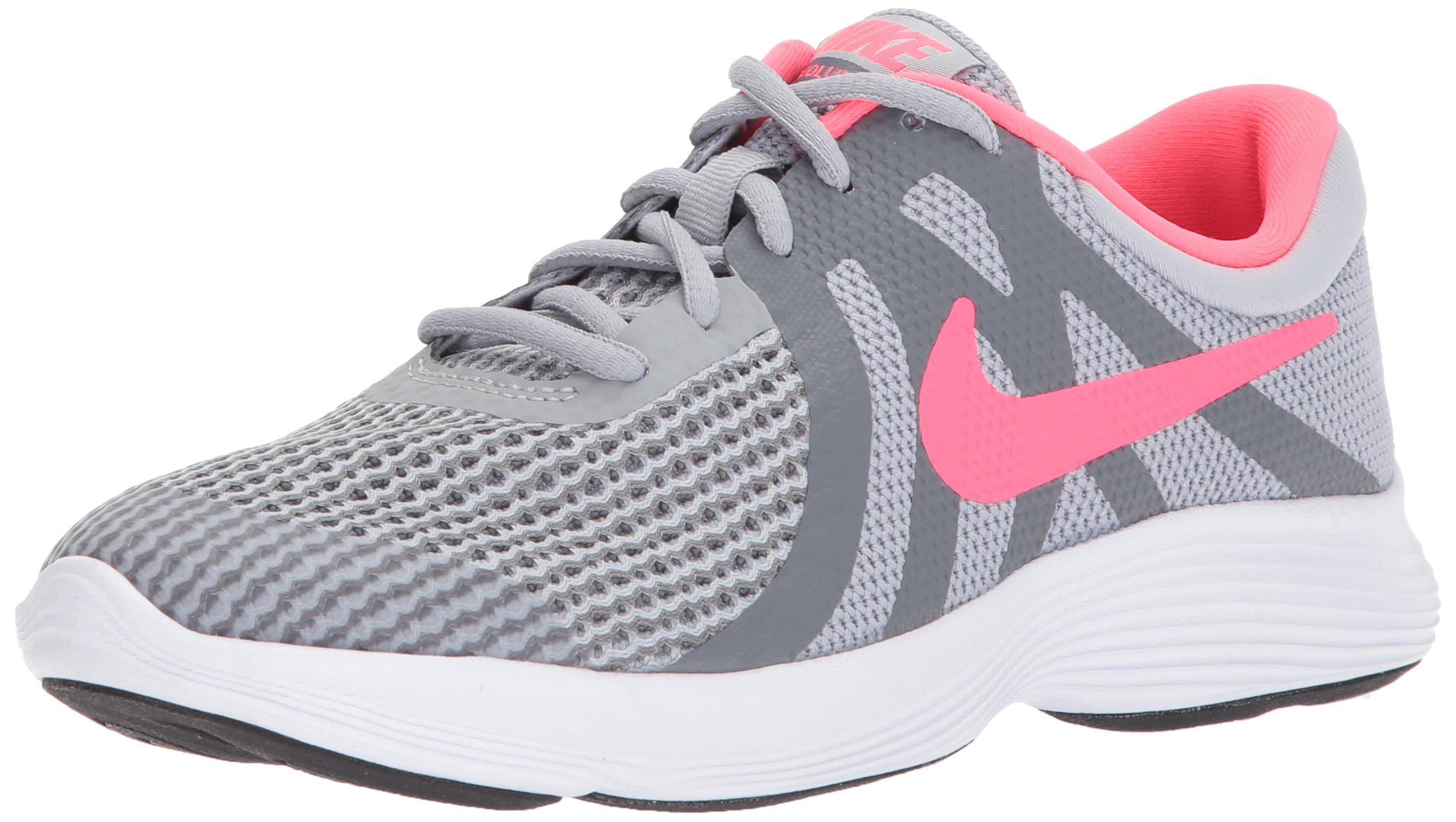 NIKE Girls' Revolution 4 (GS) Running Shoe, Wolf Grey/Racer Pink-Cool Grey-White, 4.5Y Youth US Big Kid