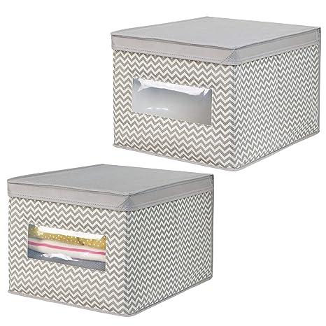 mDesign Juego de 2 cajas organizadoras de tela de polipropileno – Organizadores para armarios con tapa