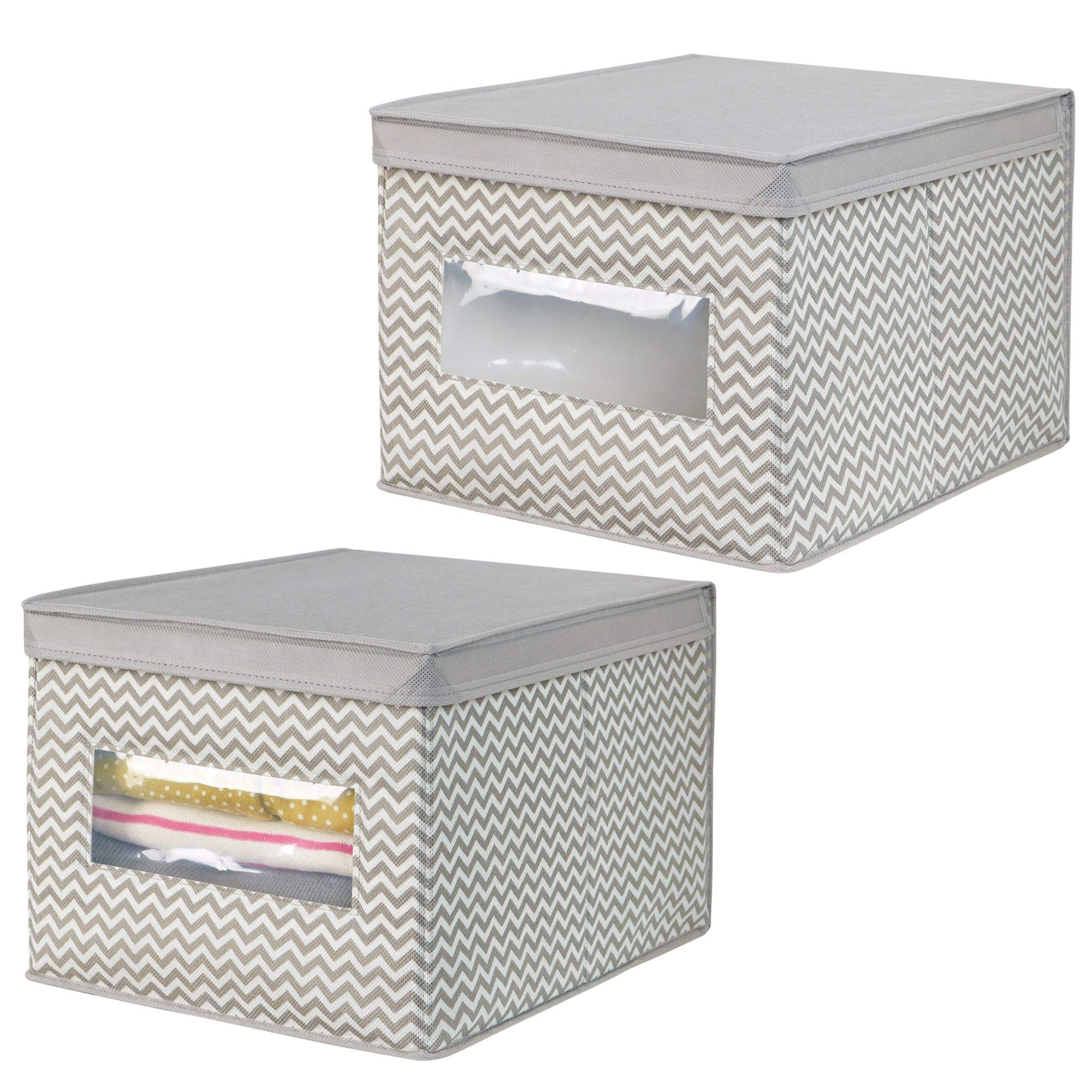 mDesign Soft Stackable Fabric Closet Storage Organizer Holder Box - Clear Window, Attached Hinged Lid for Bedroom, Hallway, Entryway Closets - Zig Zag Chevron Pattern - Large, Pack of 2, Taupe/Natural