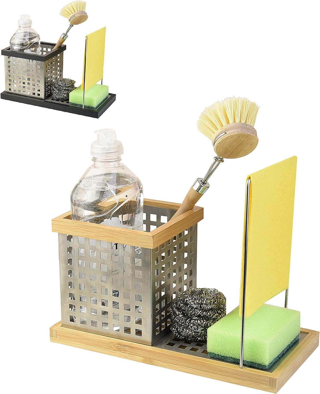 VONSALEN Estropajero Jabonera de Cocina - Organizador de Fregadero para  Estropajos - Utensilio de Acero Inoxidable con Base de Bambú (Nature)