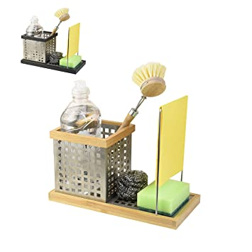 VONSALEN Premium Caddy Edelstahl & Bambus Ordnungshelfer Küchen Organizer  Aufbewahrung Küche Kitchen Accessoires (Nature)