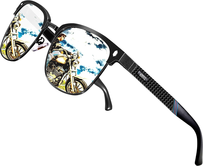 ATTCL Uomo Occhiali da sole Polarizzati da Telaio in metallo semi-cerchiato Al-Mg Super leggero