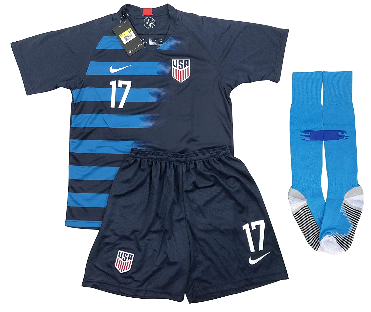 f299752be8c Amazon.com: New 2019 Tobin Heath #17 USA National Team Away Soccer Jersey  Shorts & Socks for Kids/Youths: Clothing