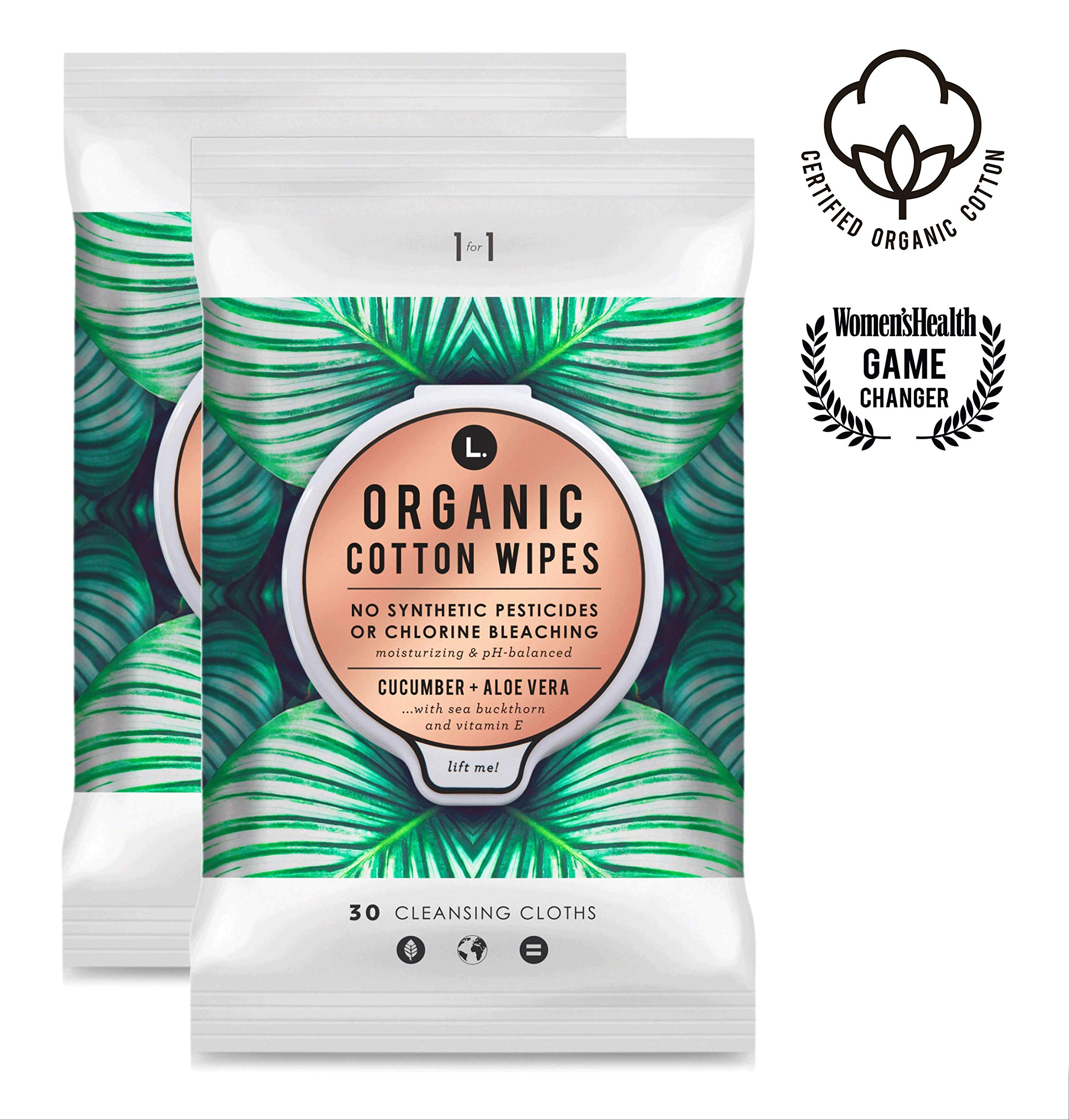 d23b7f8de1b L. Organic Cotton Feminine Wipes with Cucumber + Aloe, Moisturizing &  pH-Balanced, 60 Count