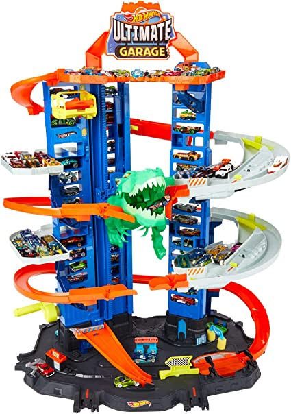 Amazon.com: Hot Wheels City Robo T-Rex Ultimate Garage Multi-Level Multi-Play Mode Stores 100 Plus 1:64 Scale Cars Gift idea for Kids 3 and Older: Toys & Games