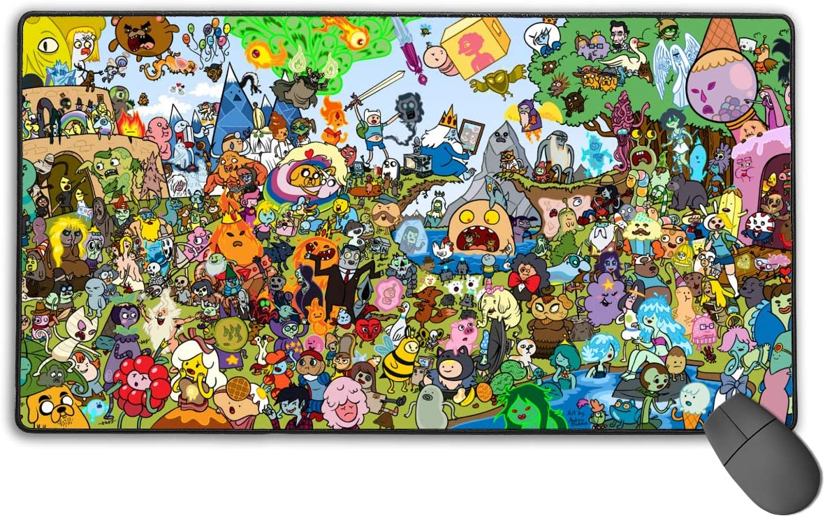 GekhHaon Adventure Time Gaming Mouse Pad Non-Slip Mouse Pad Rectangle Rubber Anime Mouse Pad 30x15.7 Inch