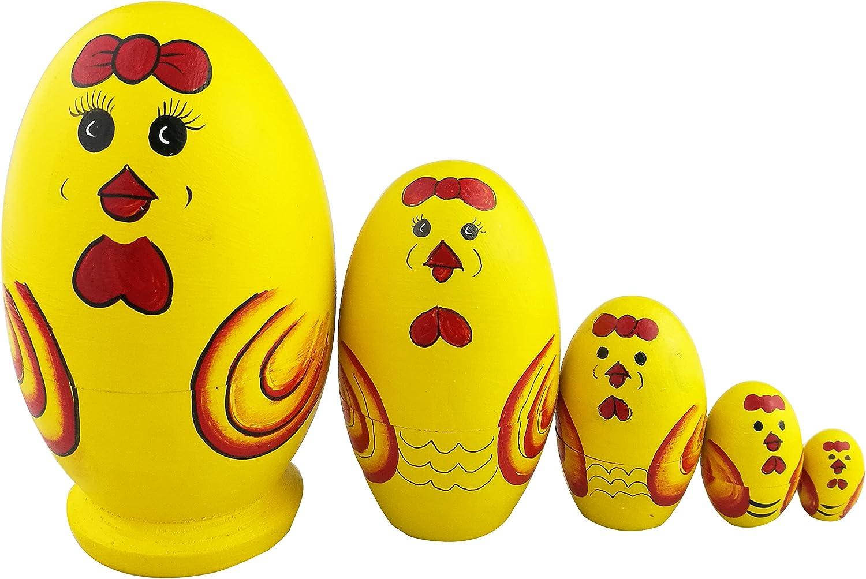 Winterworm Set of 5 Cute Egg Shape Yellow Cartoon Chicken Wooden Russian Nesting Dolls Matryoshka Home Decoration Kids Christmas Birthday Gifts