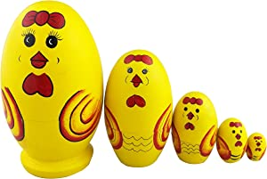 Winterworm Set of 5 Cute Egg Shape Yellow Cartoon Chicken Wooden Russian Nesting Dolls Matryoshka Home Decoration Kids Christmas Birthday Gifts