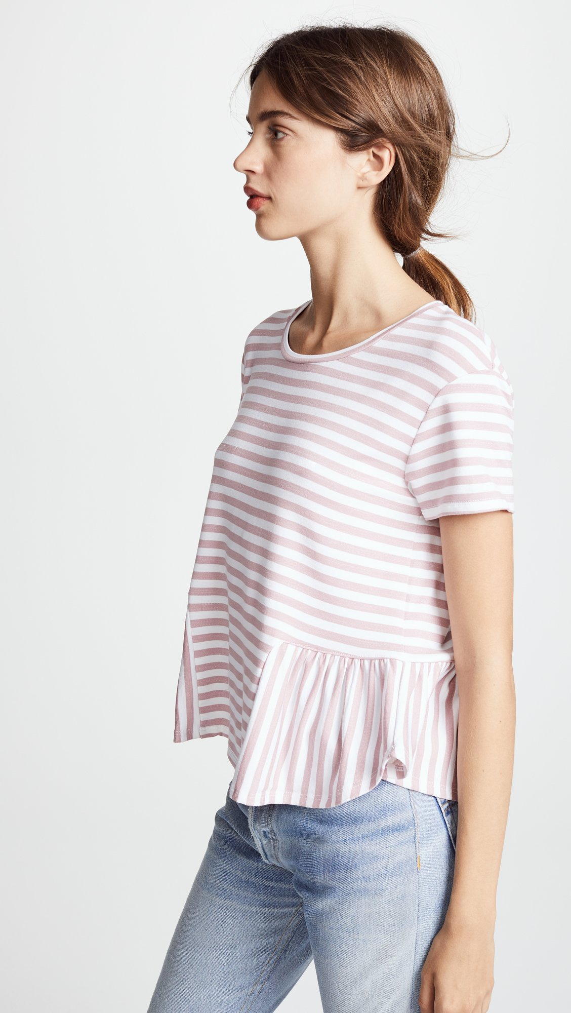 Three Dots Women's Cape Cod Stripe Loose Short Top, Rose/White, Extra Small by Three Dots (Image #4)