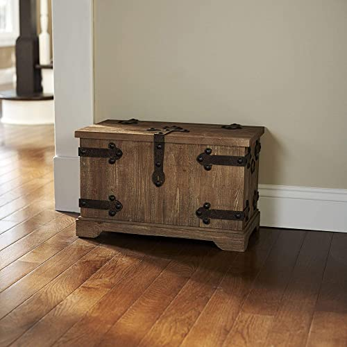 Tan Metal and Wood Small Victorian Storage Trunk – N a Industrial Stacking