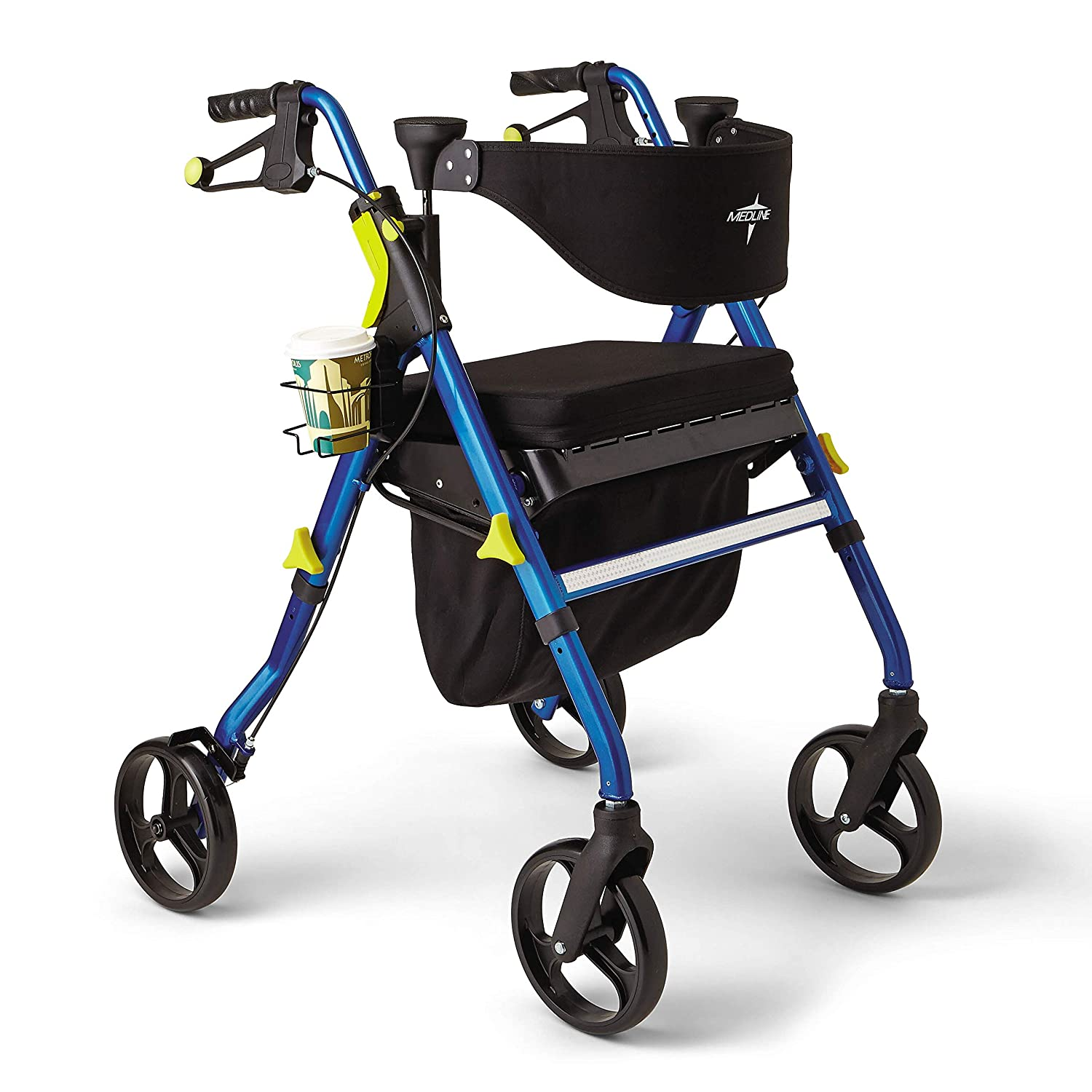 Medline Premium Empower Rollator Walker with Seat, Folding Rolling Walker  with 8-inch Wheels, Blue