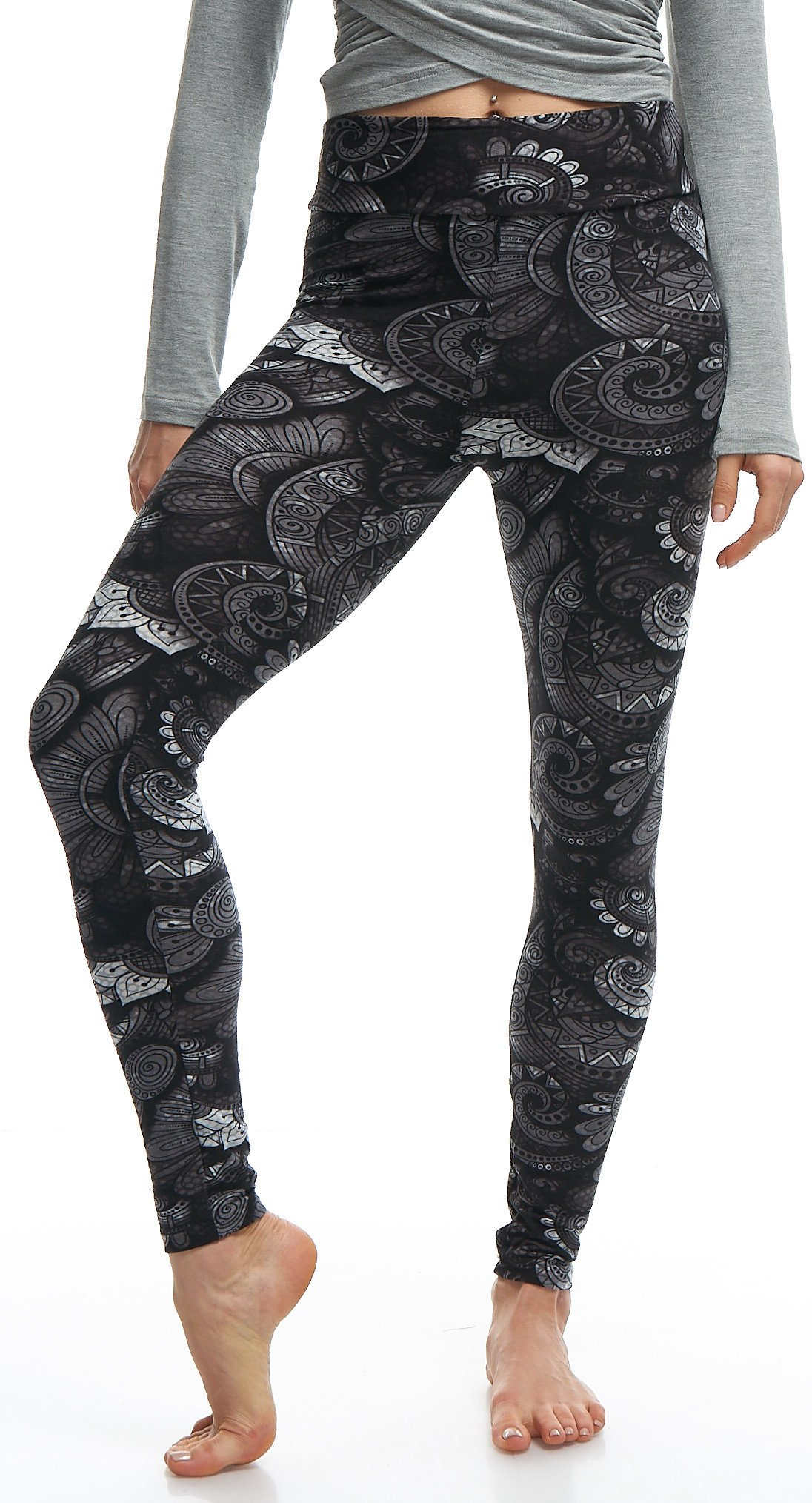 LMB Lush Moda Extra Soft Leggings with Designs- 505YF Floral Abstract Yoga by LMB (Image #2)