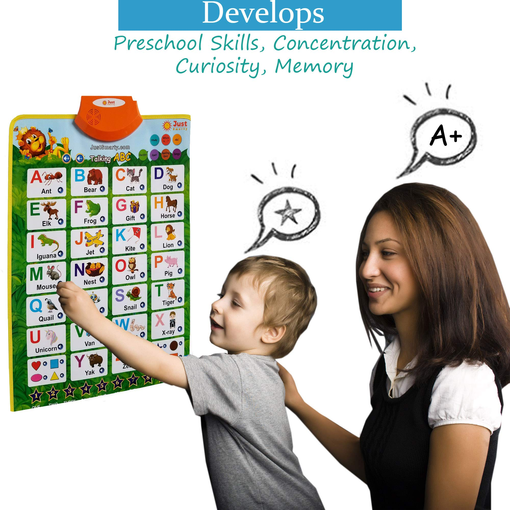 Just Smarty Electronic Interactive Alphabet Wall Chart with Shapes, Colors and Spelling, Talking ABC & 123s & Music Poster, Best Educational Toy for Toddler. Kids Fun Learning at Daycare, Preschool by Just Smarty (Image #4)
