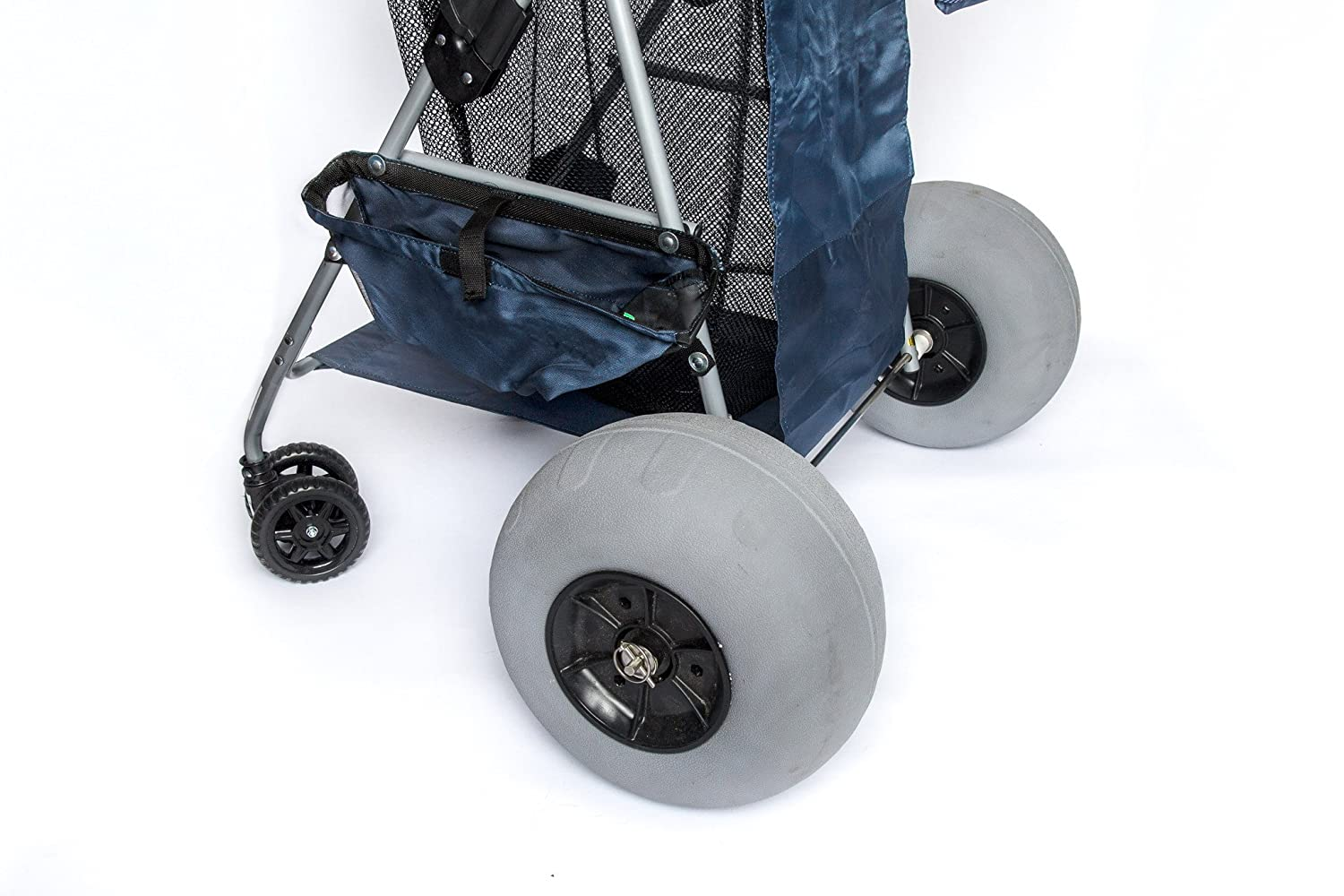 """12"""" Balloon Wheel Conversion Kit for Big Wheel Beach Carts-Includes Stainless Steel Axle,(2)12"""" Balloon/Beach Tires,(4)Bearings, Stainless Steel Axle -Easy Install,No Drilling/Tools Required."""