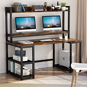 Tribesigns 55 Inches Computer Desk with Hutch and Monitor Stand Riser, Rustic Industrial Desk Computer Table Studying Writing Desk Workstation with Storage Shelves Bookshelf for Home Office (Brown)