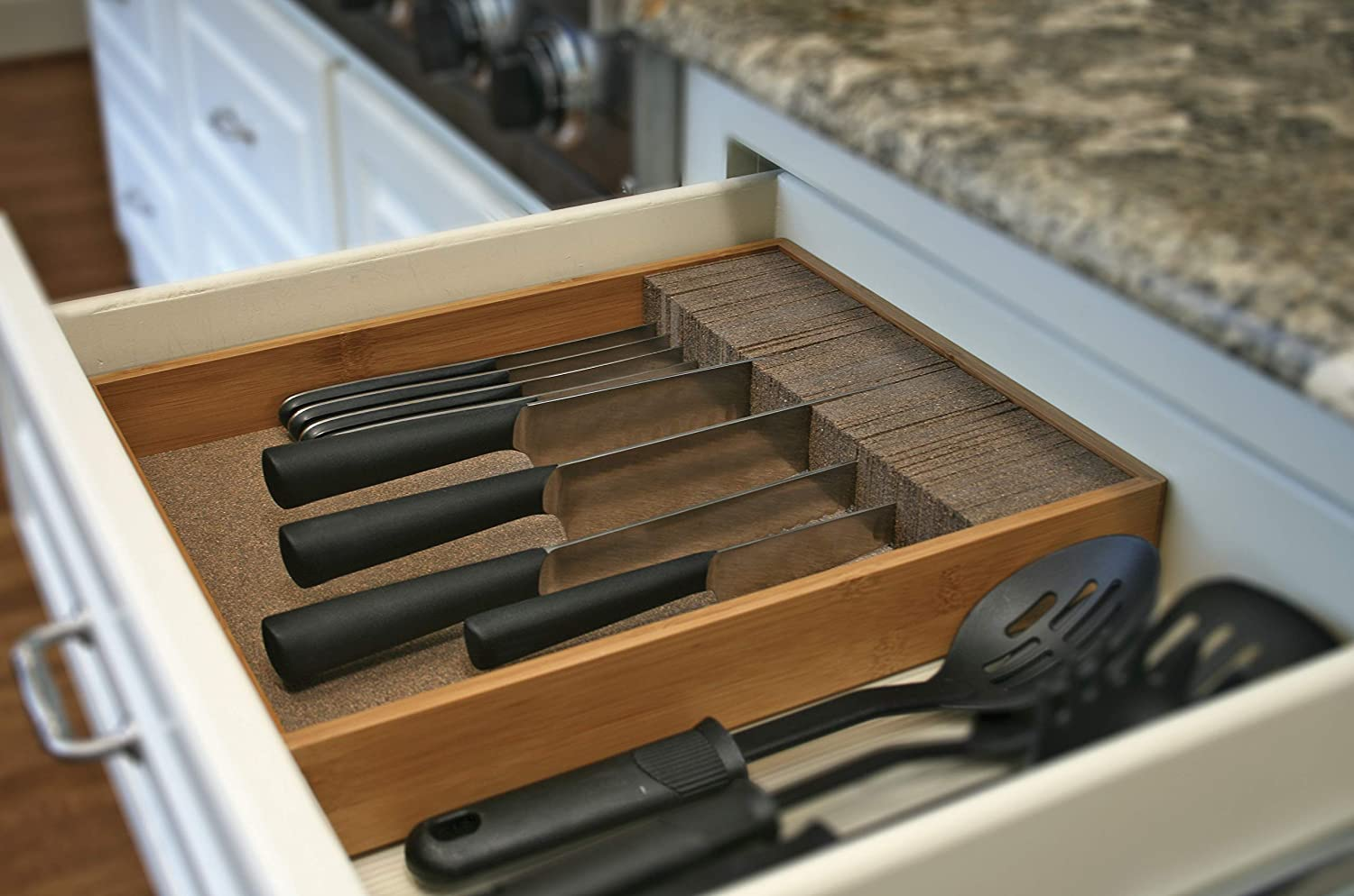Deluxe KNIFEdock - In-drawer Kitchen Knife Storage (15 in x 13 in x 2.5 in)- Easily Identify Your Knives At A Glance. Frees Up Your Counter Space. Cork Composite Material Never Dulls Your Blades.