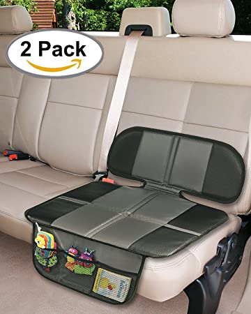 Amazon.com: Car Seat Protector, 2PC Seat Covers Extra Storage Pocket ...