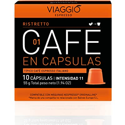 Viaggio Espresso Cápsulas de café compatibles con máquinas Nespresso Ristretto (60 Cápsulas)