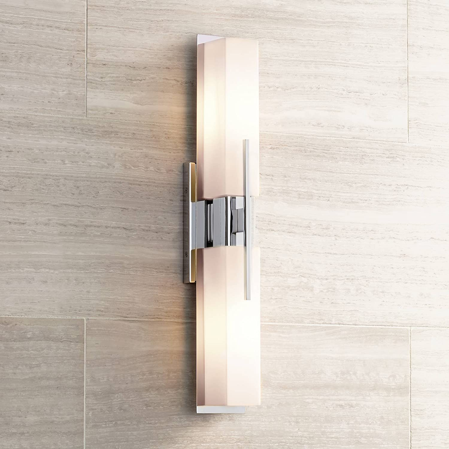 Midtown Modern Wall Light Chrome 23 1 2 White Glass Vanity Fixture for Bathroom Over Mirror – Possini Euro Design