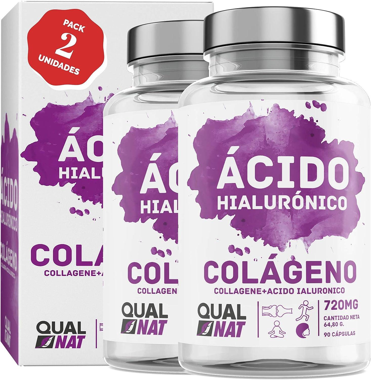Colágeno Marino con Ácido Hialurónico Cápsulas | Vitamina C| Para Una Piel Radiante y Un Buen Mantenimiento de las Articulaciones – 180 Cápsulas - Qualnat
