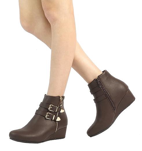 Women's GHILE Brown Low Wedge Heel Ankle Booties - 5 M US