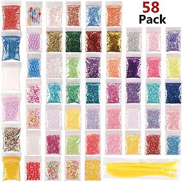 Paquete de 58 abalorios delgados de Slime Supplies que incluyen cuentas de espuma, perlas de