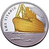 100años aniversario Titanic chapado en oro moneda conmemorativa y coleccionable de regalo