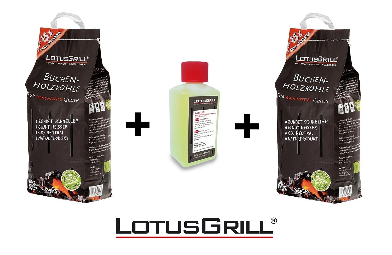 KIT Carbonella di Faggio 2 x 2, 5 Kg + 1 confezione Gel per accensione - Originale Lotus Grill LotusGrill