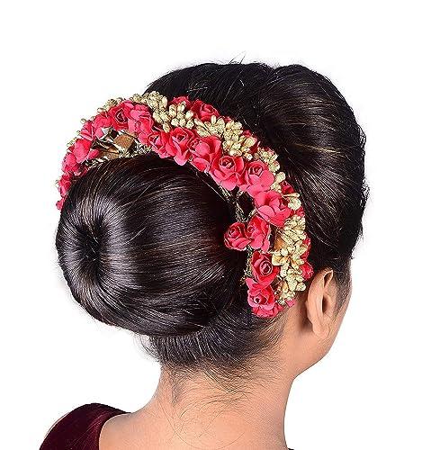 7b5e040de6384 Buy Beautiful Hair Accessories Rose Flower Gajra with Golden Beads ...