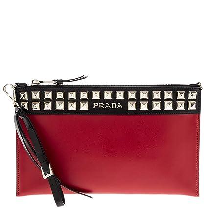 6f2abda61c Amazon.com: Prada Red Black City Studded Leather Clutch with ...