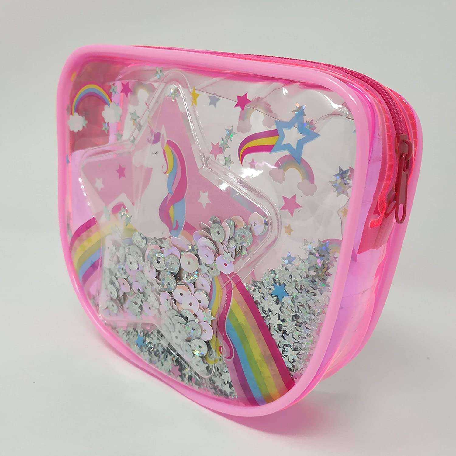 Hot Focus Pretty Lips Beauty Kit, Unicorn. 1 Clear Confetti Cosmetic Bag, 1 Eyeshadow Palette, 1 Lip Balm, 1 Lip Gloss. Complete Makeup Kit for Kids/Girls/Teens. Perfect for Any Occasion.